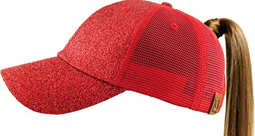 All Hat Ponytail Vintage Sports Glitter Messy High Bun Hat Ponycaps Adjustable Cotton and Mesh Trucker Baseball Cap (Adjustable, (8) Sparkle Glitter Mesh Red)