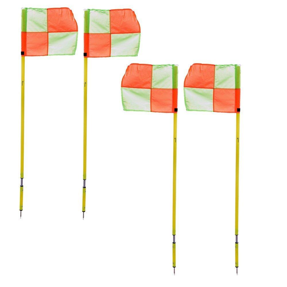 Kosma set di 4 Bandiere | Formazione di calcio bandiere con il polo Montstar KG-26096