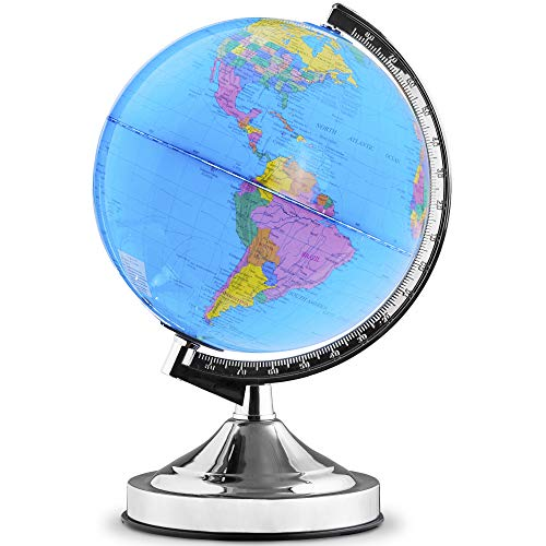 Illuminated Kids Globe with Stand  Educational Gift with Detailed World Map and LED Night Light (Power Cord Included)