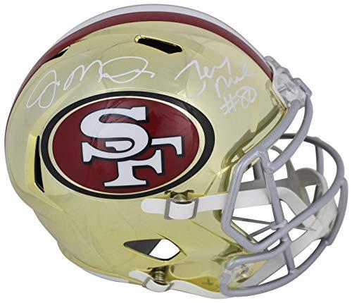 (Joe Montana & Jerry Rice Signed In White Full Size Chrome Speed Rep Helmet BAS - Beckett)