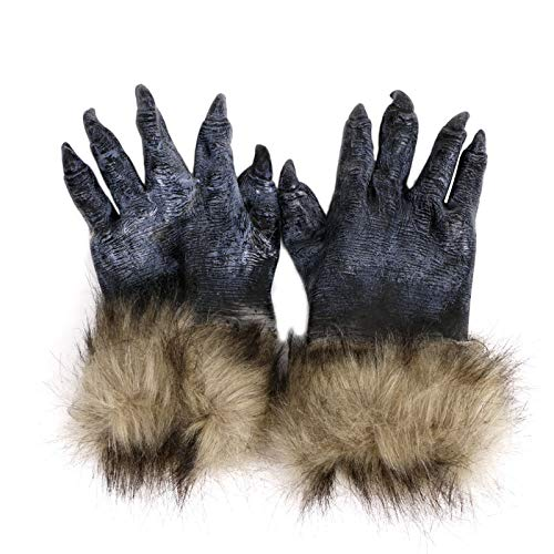 Party Masks - Witch Werewolf Wolf Paws Halloween Cosplay Gloves Creepy Costume Theater Toys W30 - Wolf Teen Boys Girls Werewolf Adults Women Creepy Costumes Kids Costume Mask -