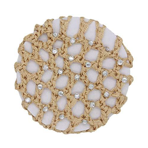 Snood Gold - Sunmoot Hair Stick Women Bun Cover Snood Rhinestone Ballet Dance Net Skating Crochet