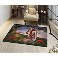 Fantasy Rugs for Bedroom Redhead Fairy with Wings Holding a Butterfly Catcher Lantern Surrounded by Poppies Door Mat Increase 24x48 Multicolor