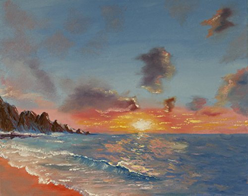 16*20 original oil seascape painting.Ocean oil painting, sunset, sunrise, sea, hand painted, sun reflecting in water. Stretched back stapled canvas. Signed by artist