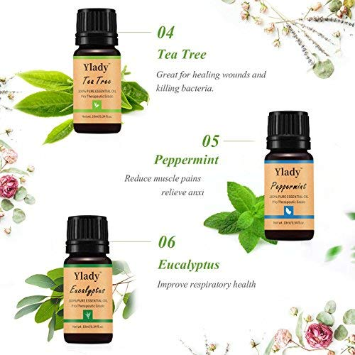 Essential Oils Kit Ylady Therapeutic Grade Aromatherapy Essential Oils (Includes Lavender Peppermint Tea Tree Eucalyptus Orange Lemon Grass Oil) for Diffuser Massage Aromatherapy Skin & Hair Care