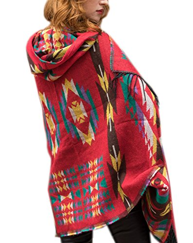 FENTI Bohemian Fringe Cape, Thicker Daily Fashion Cloak Shawl Pashmina for Women , Red , One Size