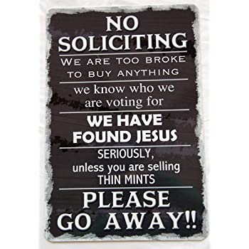 Amazon Com Collins No Soliciting Sign Home Amp Kitchen