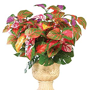 fomei Artificial Rainbow Plant Bouquet Bush, Set of 3, Maintenance-Free Plant with 40-46 Leaves in Colors of Green, Purple and Orange 28