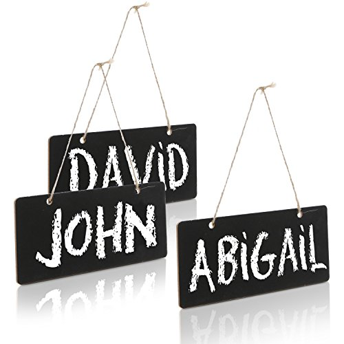 Set of 3 Decorative Hanging Chalkboard Signs Small Wall Mounted Chalk Message Boards Erasable