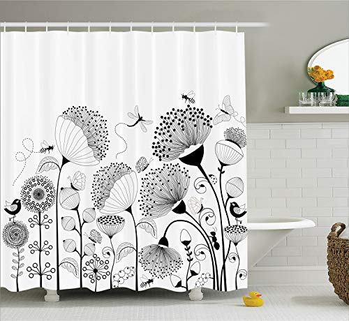 Ambesonne Black and White Shower Curtain, Small Large Blooming Flowers with Butterflies and Bees Creatures Nature, Cloth Fabric Bathroom Decor Set with Hooks, 84