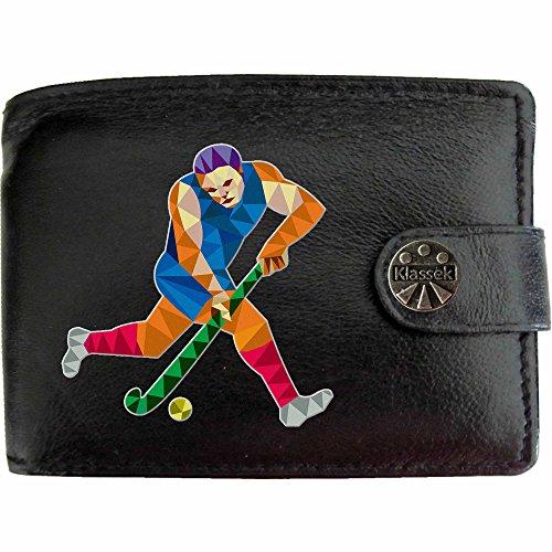 Hockey Player Hockey Spieler Klassek Herren Geldbörse Portemonnaie Brieftasche aus echtem Leder schwarz Geschenk Präsent mit Metall Box