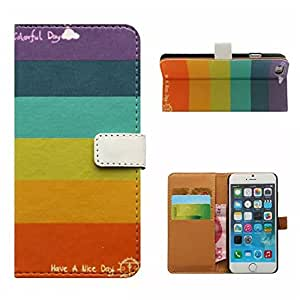 ANGELLA-M For Apple iphone 5C Case, Colorful Rainbow Style Premium Synthetic PU Leather & Hard PC Inner Solid Stand [Magnetic Closure] with Card Slot, Folio Wallet Case Cover.