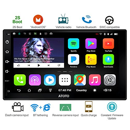 (ATOTO A6 Android Car Navigation Stereo - 2X Bluetooth & Quick Charge - Premium A6Y2721P 2G/32G Universal Auto Entertainment Multimedia Radio,WiFi/BT Tethering Internet,Support 256G SD & More)