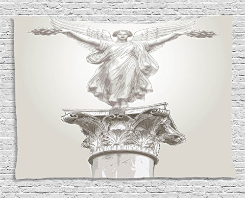 Sculptures Tapestry by Ambesonne, Angel Greek Figure Muse Statue on Neoclassic Pillars Mythology Ancient Relic Print, Wall Hanging for Bedroom Living Room Dorm, 80 W X 60 L Inches, White - Greek Art Statues
