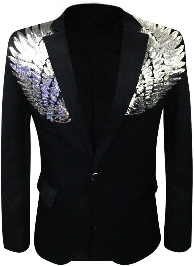 Amazon.com: Blazer para hombre con lentejuelas, ropa de ...