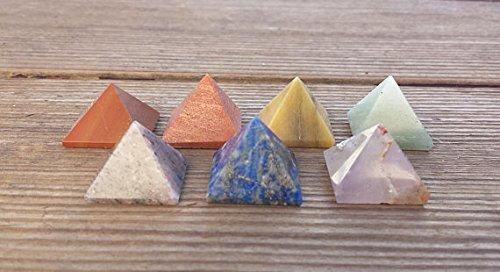[A&S Crystals ] 7 CHAKRA Natural Gemstone Engraved Small Pyramid Set 20-25mm (Crown 20 Natural)