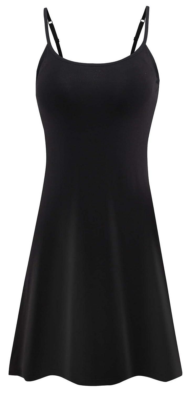 Black Vocni Sleepwear Womens Nightgown Full Slip Lounge Dress with Builtin Shelf Bra