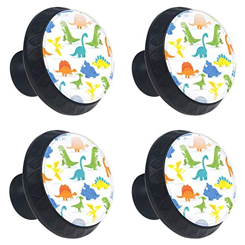 (LORVIES Happy Cartoon Dinosaur Background Drawer Knob Pull Handle Crystal Glass Circle Shape Cabinet Drawer Pulls Cupboard Knobs with Screws for Home Office Cabinet Cupboard (4 Pieces))
