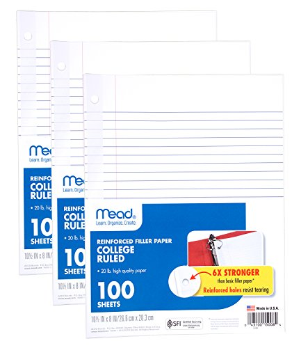"Mead Loose Leaf Paper, Filler Paper, Reinforced, College Ruled, 100 Sheets, 10-1/2"" x 8"", 3 Hole Punched, 3 Pack (38037)"