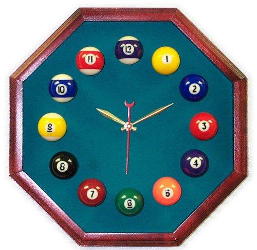 Billiards Pool Room Octagon Clock Cherry & Std Green Mali ()