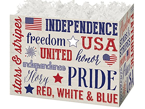 Pack of 6, Large Patriotic Expressions Basket Boxes 10.25 X 6 X 7.5