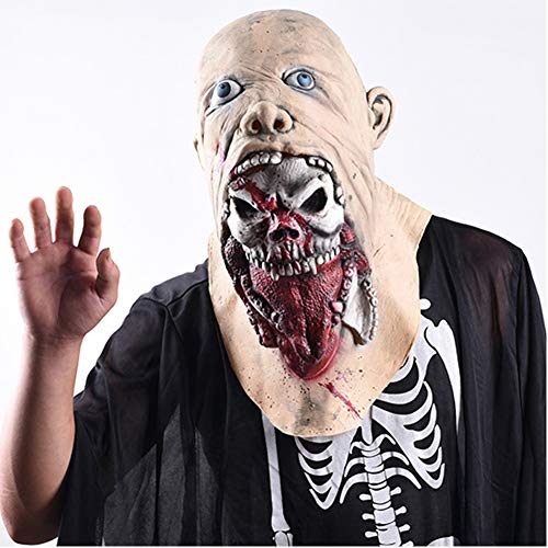 Ss Halloween Mask Headgear Zombie Horror Rotten Tongue Haunted House Props Walking Deadly Disgusting Face Scary Mask Latex Rubber Mask]()