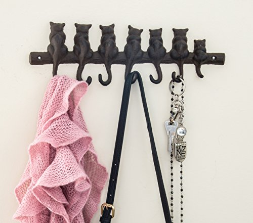 """7 Cats Cast Iron Wall Hanger - Decorative Cast Iron Wall Hook Rack - Vintage Design Hanger with 4 Hooks - Wall Mounted 
