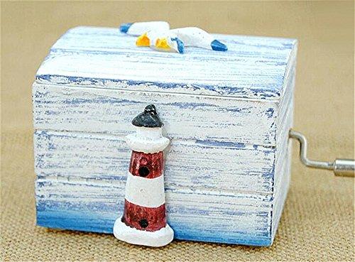 (Biscount Ocean Seagull Classic Clockwork Wood Music Box Castle in the Sky Hand Crank Musical Box for Kids Girls Women Gift)