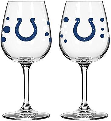 Amazon Com Indianapolis Colts Polkadot Wine Glass 12 Oz 2
