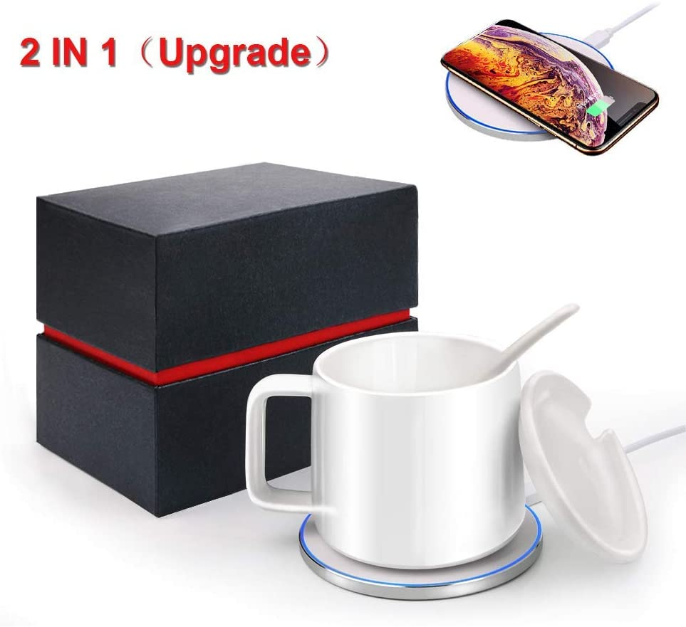 2019 Upgrade 2 in 1 Coffee Tea Milk Cup Warmer & QI Wireless