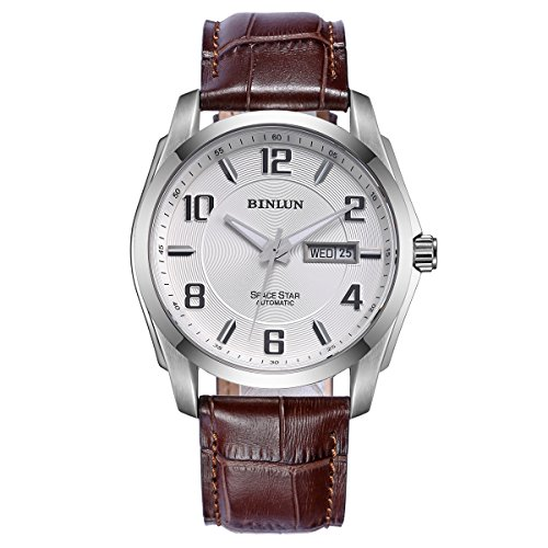 BINLUN Automatic Watches for Men Outdoor Brown Leather Waterproof Mechanical Watch with Day Date by BINLUN