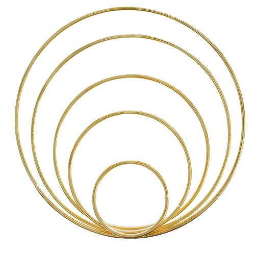 - West Coast Paracord Metal Craft Hoops Dream Catcher Rings Metal Macrame Steel Hoops for Dreamcatchers, Macrame Projects, Wreaths, 10 Pieces in 5 Different Sizes (Gold)