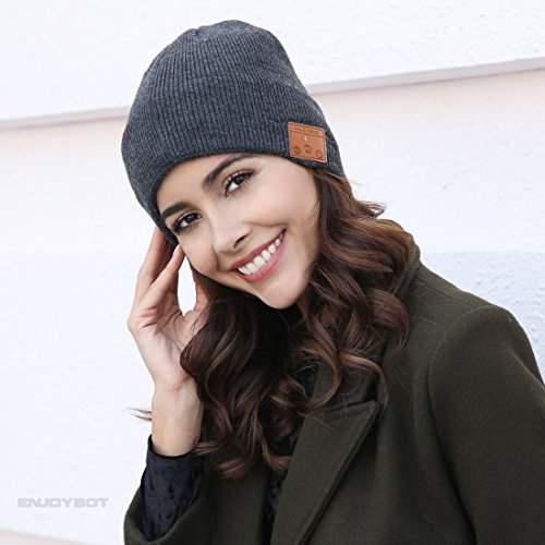 Enjoybot Bluetooth Beanie Wireless Knit Hat Cap with Built in Stereo Speakers and Microphone for Winter Sports and Gifts