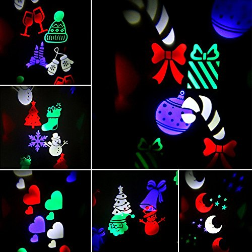 LightMe Outdoor Snowflake Spotlights, Waterproof LED Projection Lamp Auto Moving Landscape Light with 10PCS Switchable Pattern Cards for Christmas, Landscape, Party, Home Decor, etc. (Colorful Light) by LightMe (Image #3)