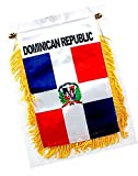 """Cool & Custom {4.4"""" x 5.5"""" String Hang} Single Count of Rear View Mirror Hanging Ornament Decoration Made of String w/ Dominican Republic Fringed Flag Design [Red, White, Blue & Yellow Colored]"""