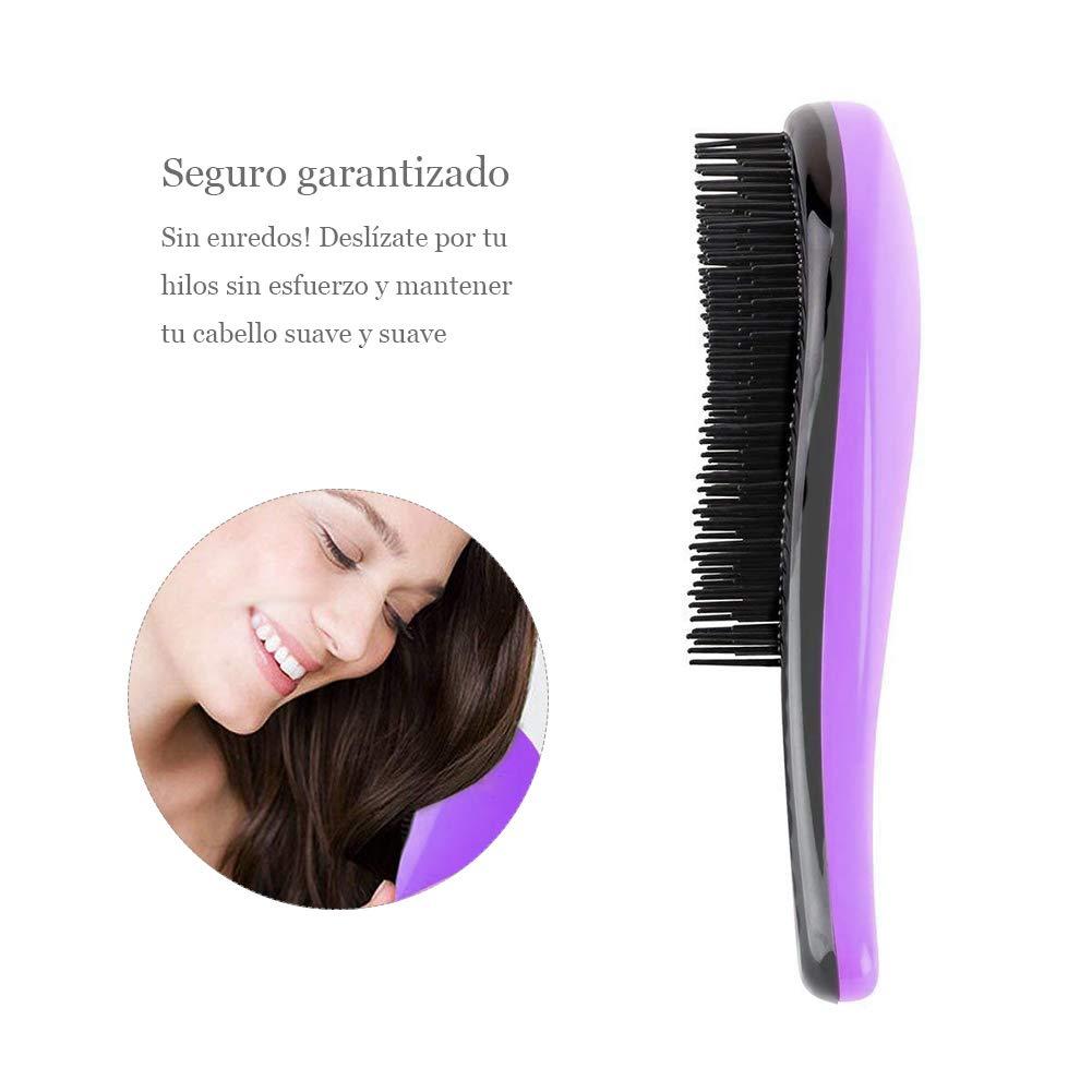 Demarkt Mejor Cepillo de Pelo Peines Tangle-Free Gran Grueso Ondulado Rizado o Cabello Fino Sobre Mujeres Niñas(Violeta): Amazon.es: Belleza