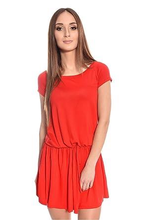 8217 Kleid Mini-Kleid mit Fledermaus Ärmel V-Ausschnitt