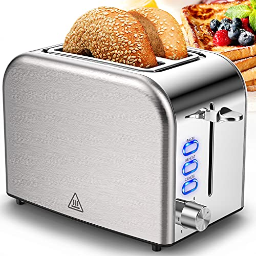 Toaster 2 Slice Toasters Stainless Steel 2 Slice Toaster Best Rated Prime Wide Slot with 6 Bread Shade Settings, Bagel, Reheat, Cancel Function, Removable Crumb Tray.