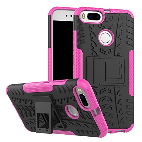 Xiaomi Mi A1 Case DWaybox Hybrid Rugged Heavy Duty Armor Hard Back Cover Case with Kickstand for Xiaomi Mi A1/Mi 5 X 5.5 Inch (Hot PinK)
