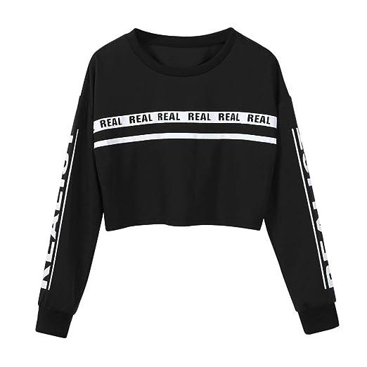 87cd1b4ed3ff8 Women Teen Girls Long Sleeve Striped Crop Top Sweatshirt Pullover Cute Tops  T Shirt (S
