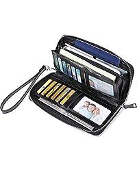 JEEBURYEE Women's RFID Blocking Large Capacity Luxury Oil Wax Genuine Leather Zip Around Wallet Clutch Multi Card Holder Ladies Purse Black