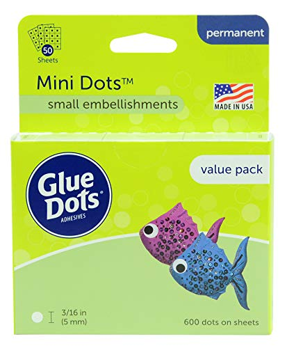Glue Dots Mini Dots Adhesive Value Pack Sheets, 3/16 Inch, Clear, Pack of 600 -