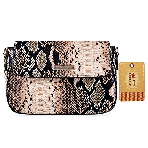 Snakeskin Lined Clutch (Goodbag Boutique Women PU Leather Handbag Sloped Snakeskin Pattern Shoulder Bag Cross-body Satchel Purse (Brown))