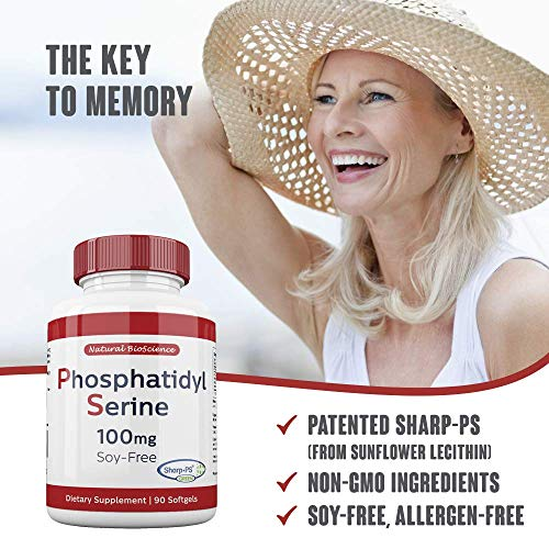 Phosphatidylserine Soy-Free 100mg, 90 Count, Patented Sharp-PS Formula, Phosphatidylserine Complex from Sunflower Lecithin, Natural Brain Booster for Memory and Focus, Soy-Free, Allergen-Free, Non-GMO by Natural BioScience (Image #3)