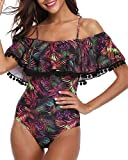 Women One Piece flounce Swimsuit Pineapple Printed Off Shoulder Bathing Suit Purple XL
