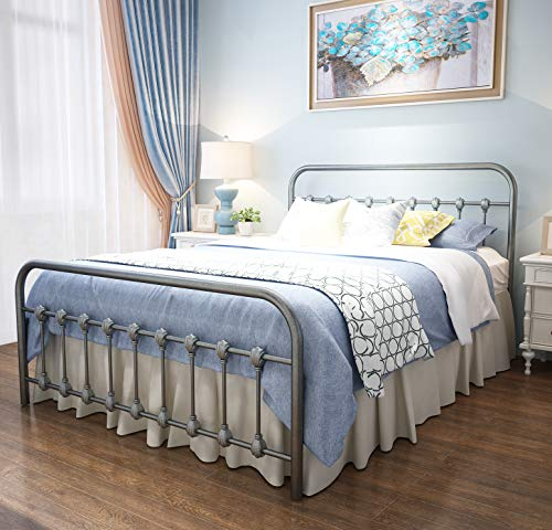 URODECOR Metal Bed Frame Queen Size Headboard and Footboard The Country Style Iron-Art Double Bed The Metal Structure,Sturdy Metal Frame Premium Steel Slat Suppot(Queen,Gray Silver)