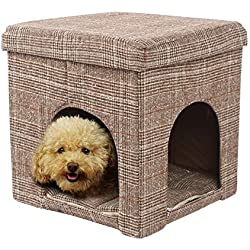 Home Dog mat [Dog Bed] Cat Litter Dog Room Dog House Storage nest Collapsible Changing Shoes Stool,Folding Storage Ottoman Cube Footrest Seat -38x38x40cm(15x15x16inch)