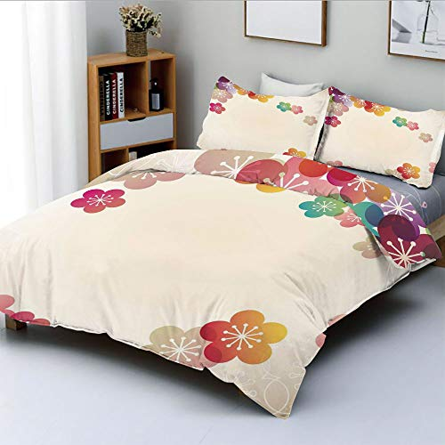 Duplex Print Duvet Cover Set Twin Size,Abstract Cartoon Like Contemporary Japanese Asian Art Flowers Ombre Colored ImageDecorative 3 Piece Bedding Set with 2 Pillow Sham,Multicolor,Best Gift For Kids