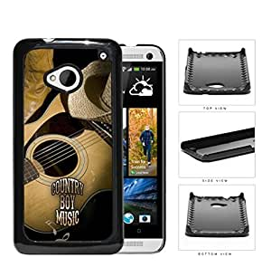Country Boy Music with Acoustic Guitar and Cowboy Boots and Hat HTC one M7 Hard Snap on Plastic Cell Phone Case Cover