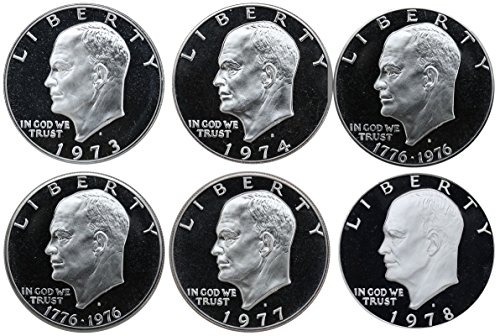 1973-1978 S Eisenhower Ike Dollars Gem Proof Run 6 Coins US Mint Decade Lot Complete 1970's Set (The Dollar Coin)